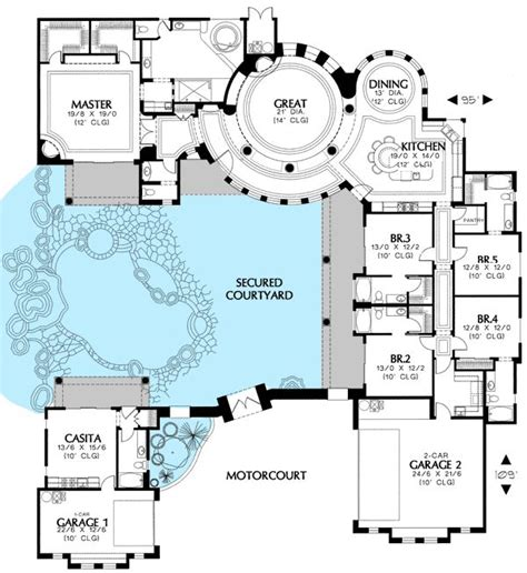southwest home plans plan 16313md courtyard house plan with casita house