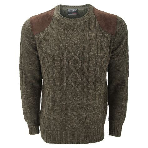 mens patch sweater mens cable knit crew neck jumper sweater with shoulder