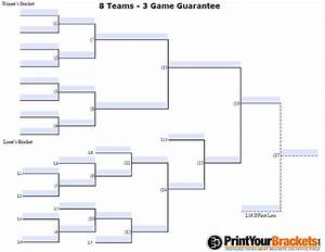 fillable 8 team 3 game guarantee tourney bracket With game bracket template