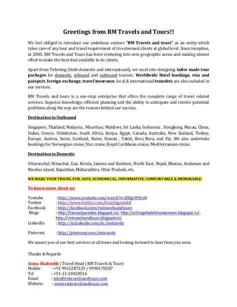 introductory letter rm travels  tours