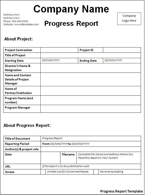 Progress Report Template Progress Report Template Free Formats Excel Word