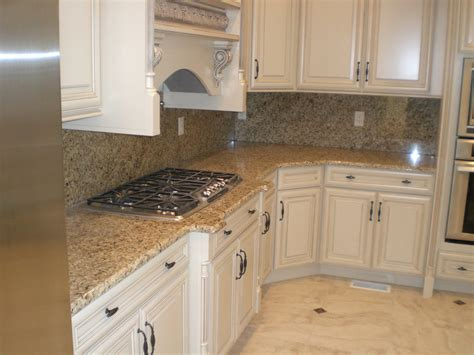 New Venetian Gold Granite With White Cabinets Kitchen