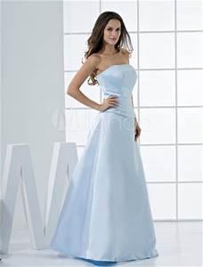 Robe Bleu Demoiselle D Honneur : robe de demoiselle d 39 honneur bleu ciel sans bretelles faite en satin ~ Dallasstarsshop.com Idées de Décoration