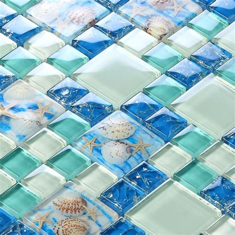 style sea blue glass tile of pearl resin