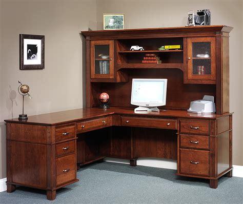 Amish Arlington Executive L Desk With Hutch Top