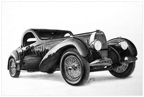 vintage bugatti car pencil drawing by jooleya on deviantart