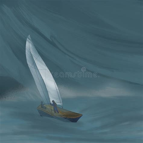 Yacht In Night And Storm Ocean. Stock Illustration ...