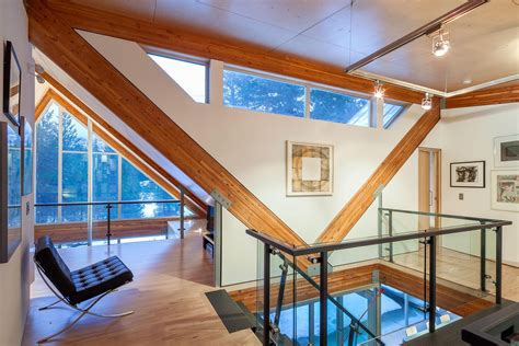 interior structure of house home with engineered glulam structure as design feature