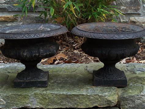 8271 Rare Small Pair Of Victorian Cast Iron Planters C1880