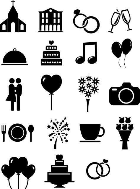 ausgefuellte hochzeits icons und vorlagen fuer euren