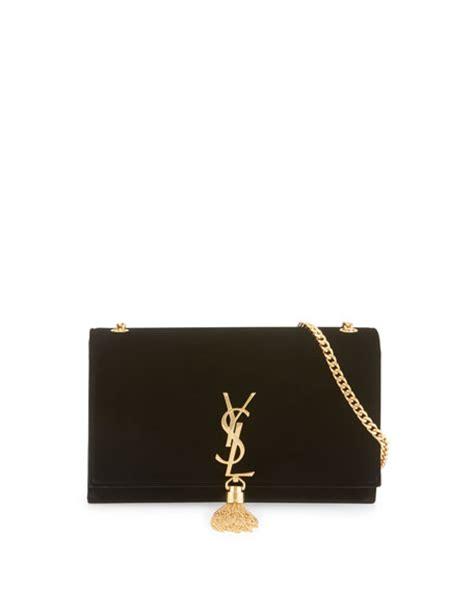 saint laurent kate monogram medium velvet tassel shoulder