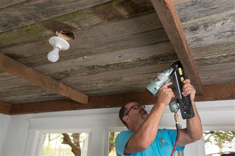 Installing A Ceiling by How To Install A Reclaimed Wood Ceiling Treatment How