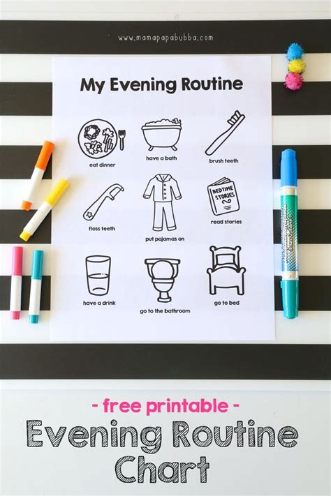 printable evening routine chart routine chart kids