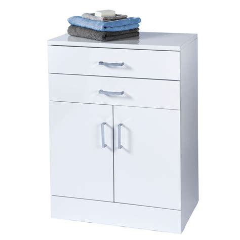 Free Standing Drawer Unit by Trento White Gloss Free Standing Bathroom Cabinet