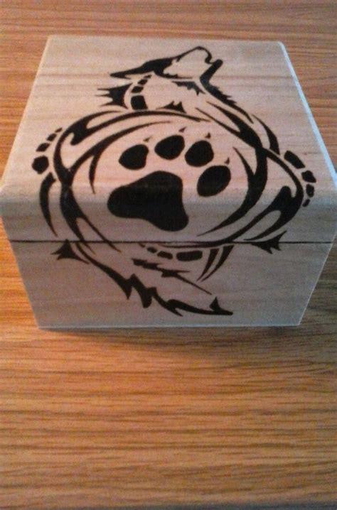 tribal wolf wooden box handmade wood burned wolf box