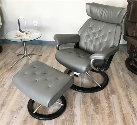 grey chair and ottoman stressless skyline signature base paloma metal grey