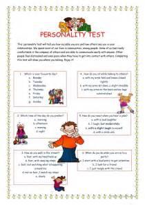 personality test  worksheet  esl printable