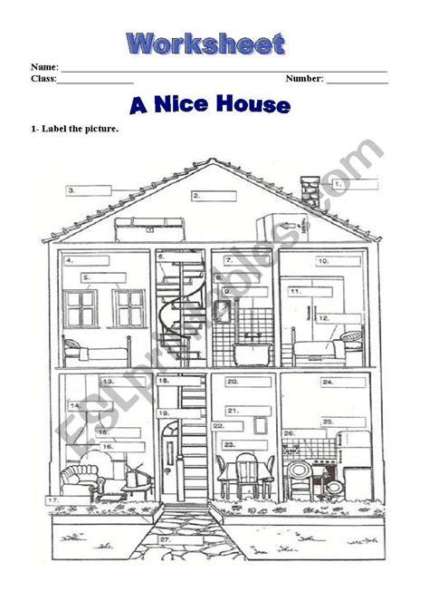 house worksheet esl worksheet  horacionelson