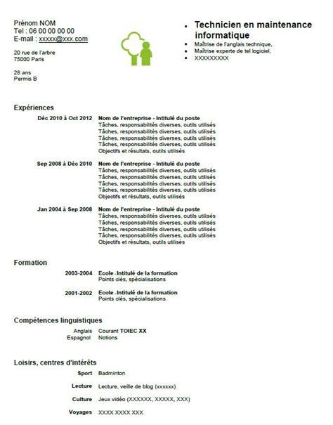 Modèle De Présentation De Cv by Resume Format Pr 233 Sentation Cv Informatique