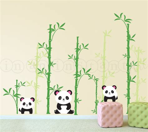 Panda Wall Decal Pandas and Bamboo Forest Wall Decal for