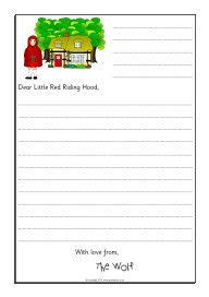 wolf  letter writing frames  red riding hood