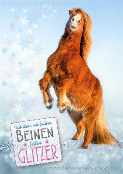 postkarte grusskarte suesses pony pferd ich stehe mit