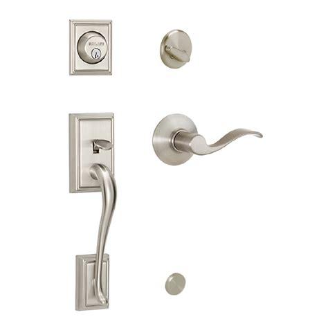 lowes door locks door handleset schlage century traditional satin nickel