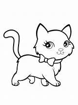 Coloring Cats Kitten Colouring Printable Mycoloring Adorable Cartoon Bubakids sketch template