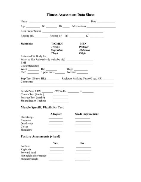 fitness assessment form