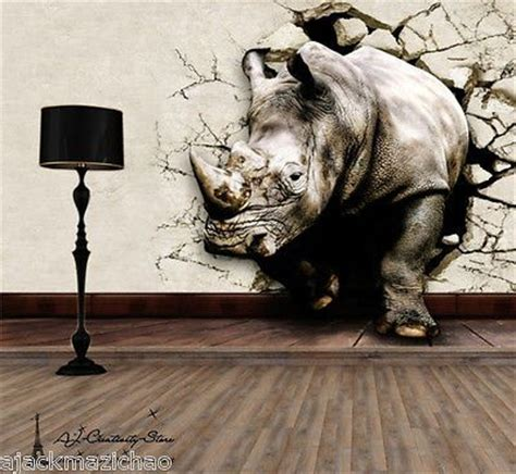 details   rhino break thr wall paper wall print