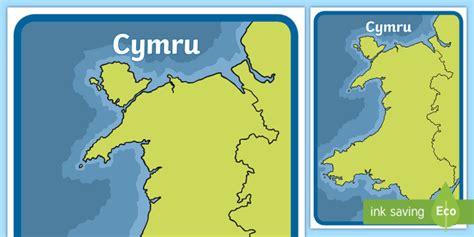 * New * Poster Arddangos A2 Map O Gymru Mewn Lliw United
