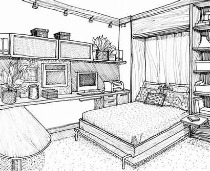 Drawing Bedroom Drawings Living Simple Sketches Line