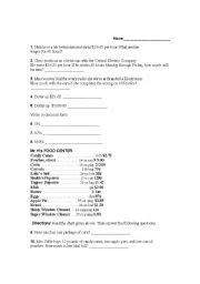 English Worksheets Consumer Math Problems
