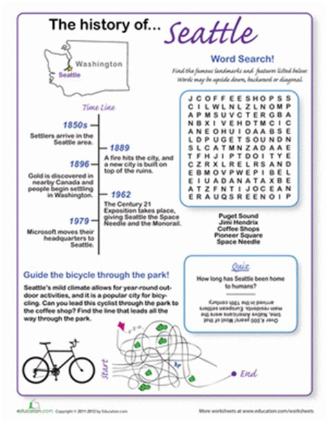 History Of Seattle  Worksheet Educationcom