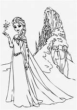 Elsa Coloring Frozen Pages Printable Let Go sketch template