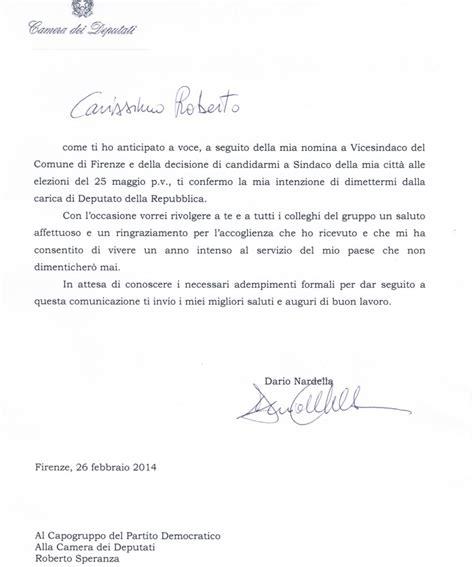 Lettere Dimissioni Volontarie by La Lettera Di Dimissioni Da Deputato Dario Nardella