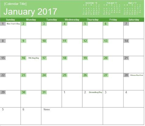 monthly calendar 2017 template 2017 monthly calendar excel templates for every purpose