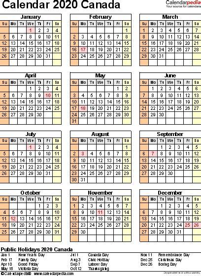 calendar canada calendar year printable