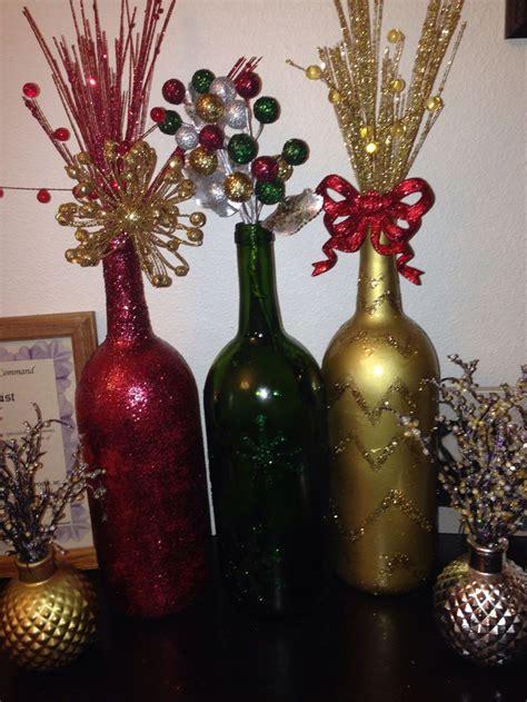 repurpose wine bottles  christmas vase decor
