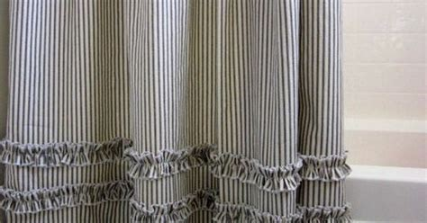 Vintage Ticking Stripe Shower Curtain With Ruffles |