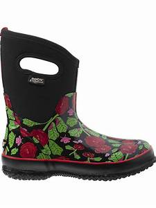 Garden boots rose print insulated waterproof boots by bogsr for Garden boots for women