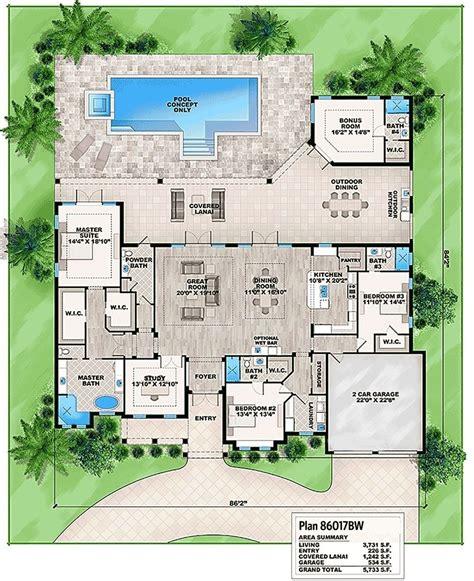 plan bw florida house plan  detached bonus room   florida house plans