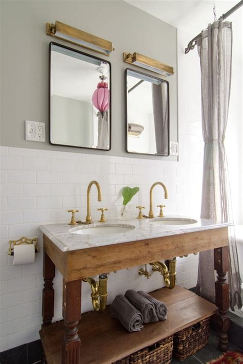 Reclaimed Wood Washstand Eclectic Bathroom Salvaged Wood Washstand Vintage Bathroom