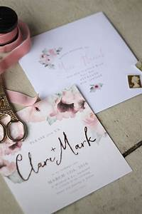 wedding stationery pink floral gold just my type With design wedding invitations online nz