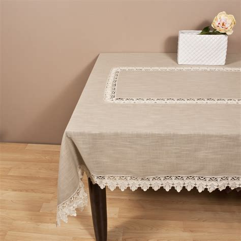 Saro Taupe Lace Trimmed Tablecloth Contemporary