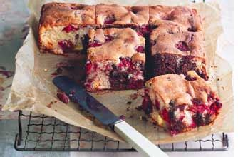 berry chocolate tray bake  essentials magazine