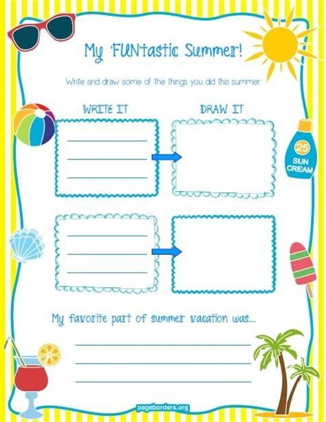"""my 'fun'tastic Summer!"" Printable Worksheet  A Well, Back To And Summer Vacations"