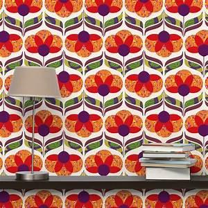 Wände Verputzen Material : blumenmuster tapete buntes flower power retro vliestapete premium breit tappezzeria ~ Watch28wear.com Haus und Dekorationen