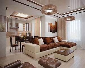 Brown cream living room interior design ideas for Interior decor brown living room
