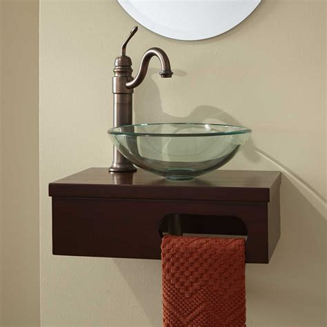 wall mount bathroom vanity sink 18 quot dell mahogany wall mount vessel vanity with towel bar